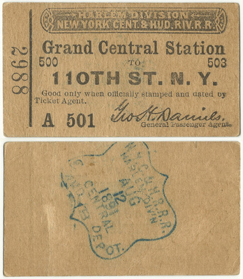110th Street to Grand Central Ticket